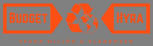 Orange logotyp för företaget BudgetHyra med festuthyrning i Stockholm med undertexten